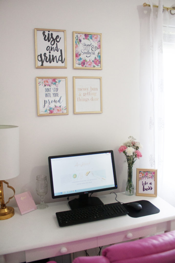 Tour this DIY Girl Boss Home Office that was transformed with Velvet Finishes. Need some office inspiration? Here you will find a pink + gold home office perfect for any girl boss!