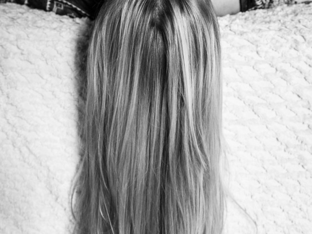 Long Blonde Hair in Black and White