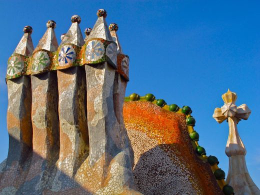 rooftop detail of Gaudi's Casa Batllo in Barcelona