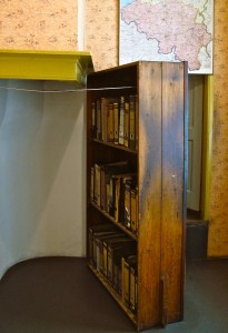 The hidden entrance to Anne Frank's secret apartment.