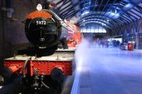 Hogwarts Express train on Platform 9 3/4 at the Warner Bros. Harry Potter studio tour in Leavesden, near London
