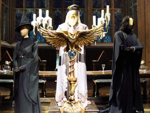 Dumbledore statue on display in the Great Hall at at the Warner Bros. Harry Potter studio tour in Leavesden, near London