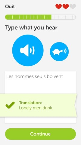 """""""Lonely men drink."""" Yes, Duolingo, that's what I hear."""