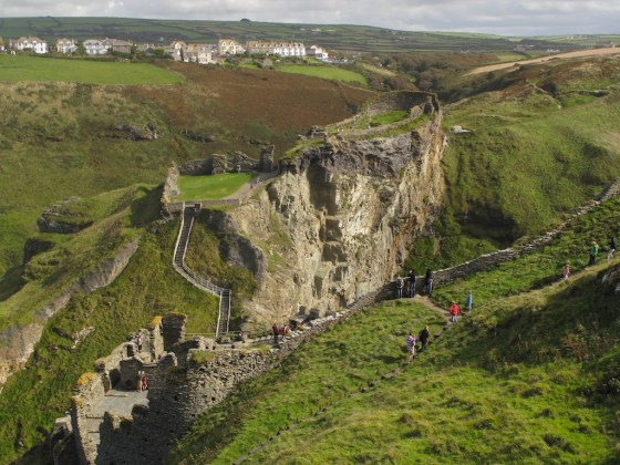 Today, Tintagel Castle straddles a steep gorge. Long ago, it was connected, before the ground beneath it crumbled.