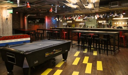 Game tables in the bar