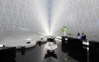 Pyramid-shaped reception area