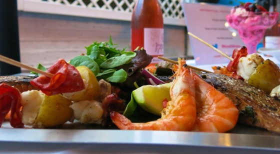 Seafood platter, side view