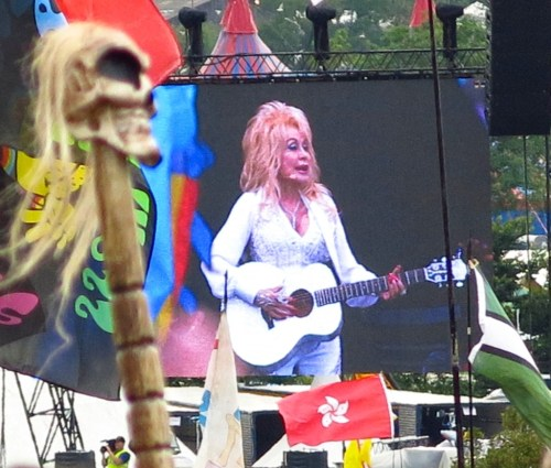 Dolly Parton could be seen from outer space...at least, parts of her. Anyway, that's pretty much where we were seated. Glasto estimates she drew 100,000 people--maybe more than The Rolling Stones.