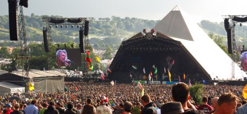Robert Plant on the Pyramid Stage. He did indeed make us sweat and make us groove.