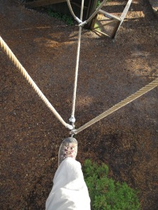 My first--and last--foray as a tight rope walker.