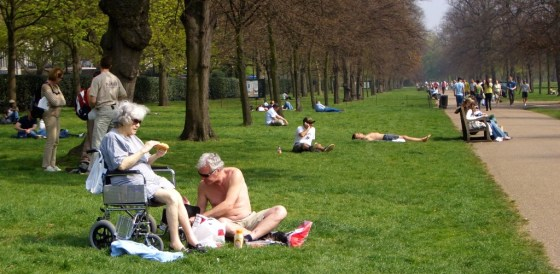Lazing on a sunny afternoon in Hyde Park.