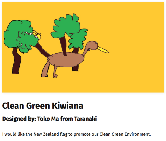 Proposed New Zealand flag with drawing of kiwi bird sprouting trees.