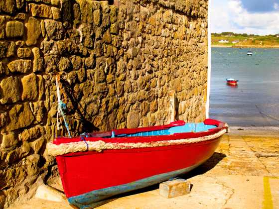 A colorful boat on St. Mary's, England's Isles of Scilly