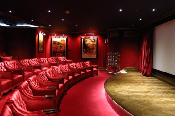cinema at Ashford Castle with red velvet seats