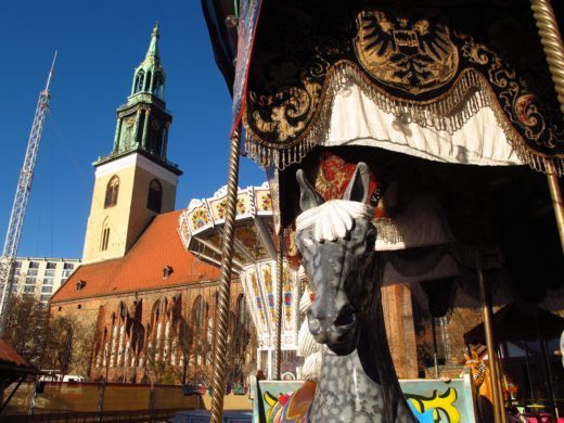 carousel in front of Berlin's Marienkirche