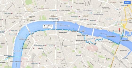 map of London landmarks along the Thames