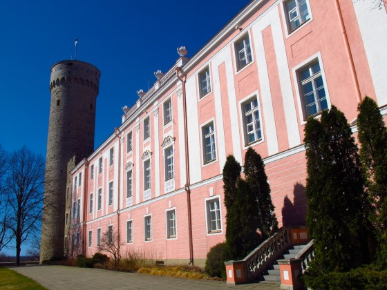 Pikk Hermann Tower and the Baroque Toompea Palace in Tallinn, Estonia