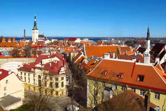 A viewpoint on Toompea Hill in Tallinn, Estonia looks out across the red-tiled rooftops towards the harbor, which is welcoming more and more cruise ships. Copyright Amy Laughinghouse.