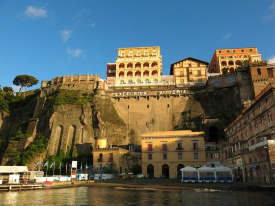 Sorrento view of Grand Hotel Excelsior Vittoria from Marina
