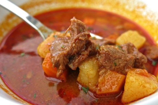 a bowl of traditional Hungarian goulash