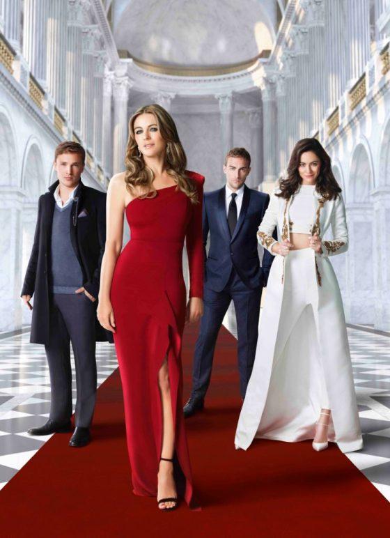 The Royals cast: William Moseley as Prince Liam, Elizabeth Hurley as Queen Helena, Tom Austen as bodyguard Jasper, and Alexandra Park as Princess Eleanor. Courtesy E!