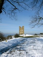 Broadway Tower in the snow