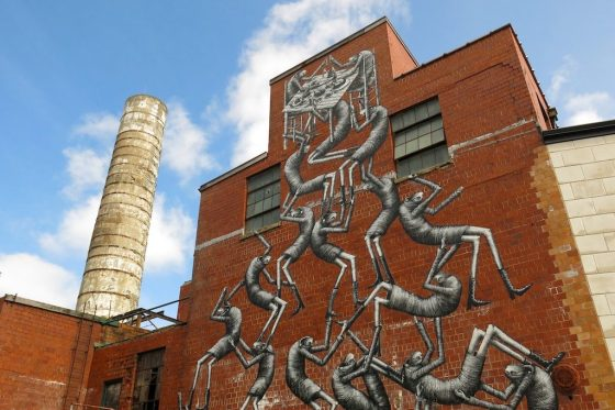 Phlegm's clambering men writhe skyward on the side of Etheral Brewing in Lexington's Distillery District. Indulge in one too many of the brewery's Belgian beers, and this is what the inside of your head might feel like the next morning.
