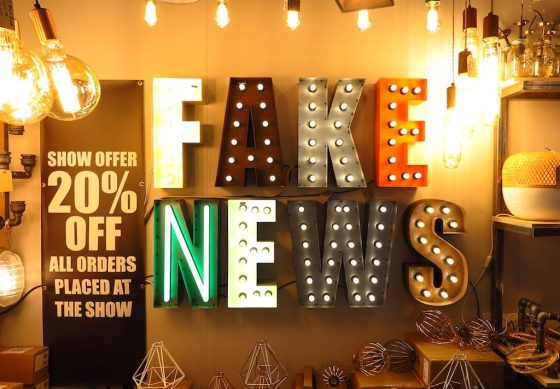 """Just what Donald Trump needs for the Oval Office: a """"Fake News"""" light fixture from JamJar Lights."""