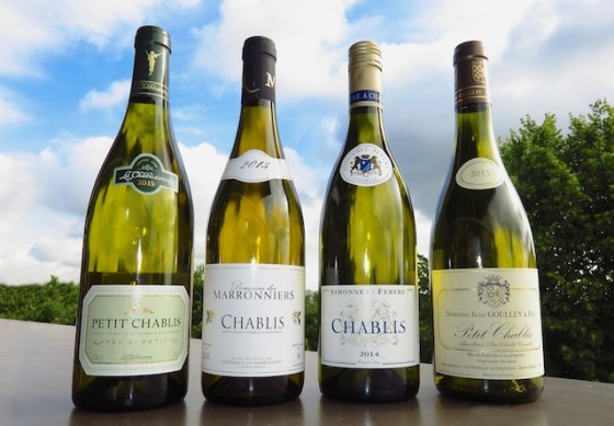 Four bottles of Chablis in a row, vintage 2015