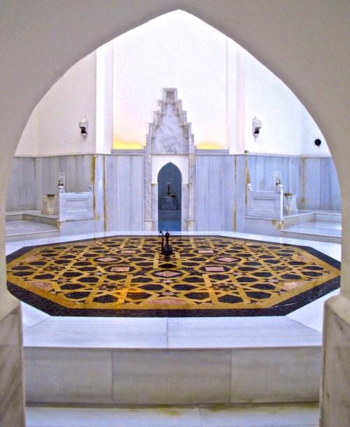 Ayasofya Hurrem Sultan Hamami naval stone in Istanbul, Turkey