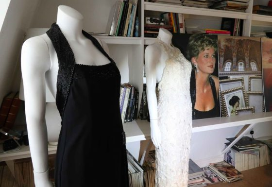 """Two of Princess Diana's original dresses adorn mannequins in the London atelier of Catherine Walker, one of Diana's favorite designers. """"There's something special about the relationship between a woman and a dress,"""" says Said Cyrus, who founded the label with his late wife Catherine in 1977. Copyright Amy Laughinghouse"""