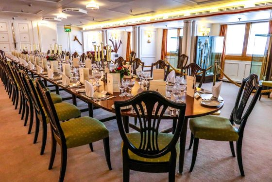 Royal Yacht Britannia State Dining Room. Copyright Amy Laughinghouse