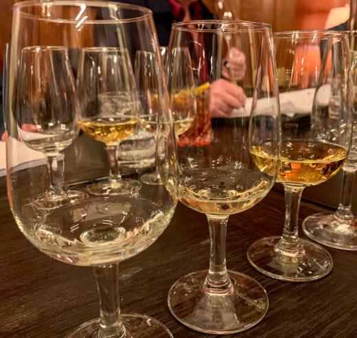 Bain's raw spirit (left), alongside spirit aged in ex-bourbon barrels.