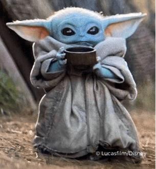 Baby Yoda with mug