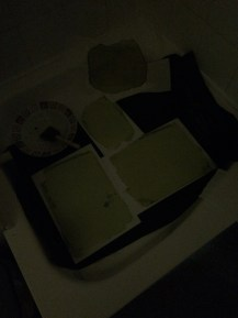 Photosensitive paper drying in a dark room, top left Photosensitive Loo Roll reinforced with card