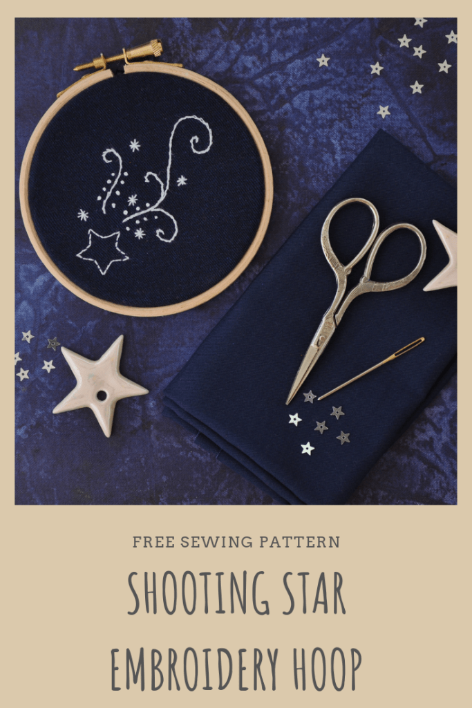 Embroidered shooting star pattern; white thread against a navy background