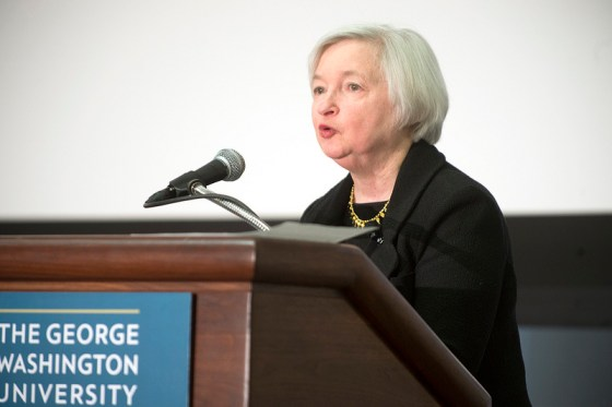 Yellen speaking at George Washington University.  Official Federal Reserve photo