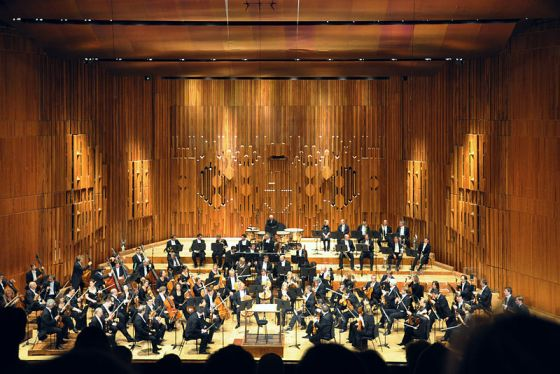 The London Symphony Orchestra performing at the Barbican Centre in London.  Photo by Wikipedia user FA2010