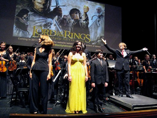 "A live performance of the score from ""The Lord of the Rings: The Two Towers"" accompanies a showing of the film at Radio City Music Hall in 2010.  Photo by Flickr user workinpana"
