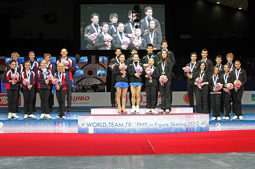 Medal winners at the 2012 World Team Trophy: Japan in first, the U.S. in second, and Canada in third. Wikipedia photo by David W. Carmichael