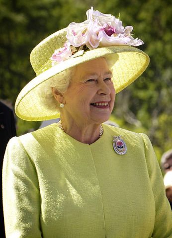 Queen Elizabeth II in one of her many hats. Official NASA photo