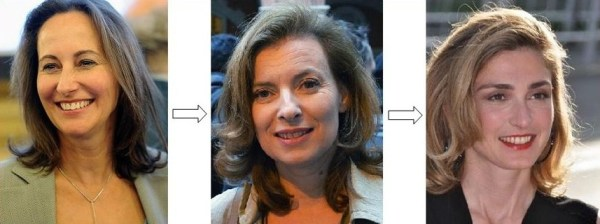 The loves of Franois Hollande in order (R-L): Ségolène Royal, Valérie Trierweiler, and Julie Gayet.  Flickr photo of Royal by user Razak.  Photo of Trierweiler by Wikipedia user Jackolan1.  Photo of Gayet by Wikipedia user Georges Biard.