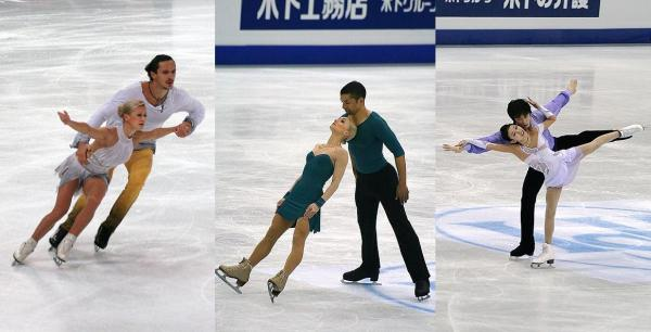 Pairs medalist predictions (L-R): Tatiana Volosozhar and Maxim Trankov - gold, Aliona Savchenko and Robin Szolkowy - silver, and Pang Quing and Tong Jian - bronze. Photos all by Wikipedia user Luu.