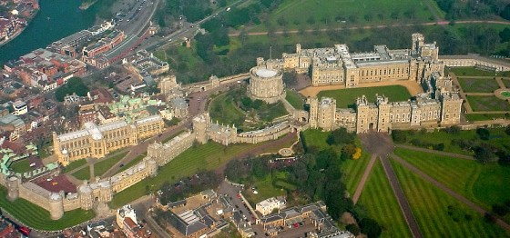 Windsor Castle, one of the Queen's official residences, viewed from the air. Wikipedia photo by Mark S Jobling