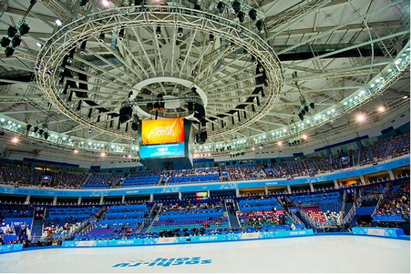 Interior of the Iceberg arena where figure skating events were held at the 2014 Sochi Winter Olympics. Flickr photo by Atos