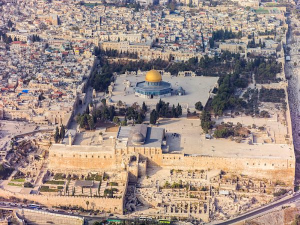 An aerial view of the Temple Mount in Jerusalem as it appears today, looking toward the north. Wikipedia photo by Andrew Shiva