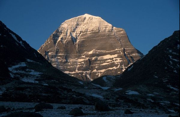 Tibet's Mount Kailash, a sacred pilgrimage site for four different religions. Photo by Wikipedia user Heringf