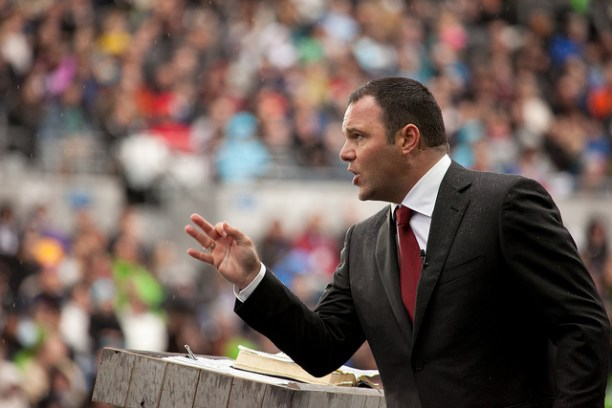 Mark Driscoll preaches at Mars Hill's Easter service at Qwest Stadium in 2011. Flickr photo by Mars Hill Church Seattle