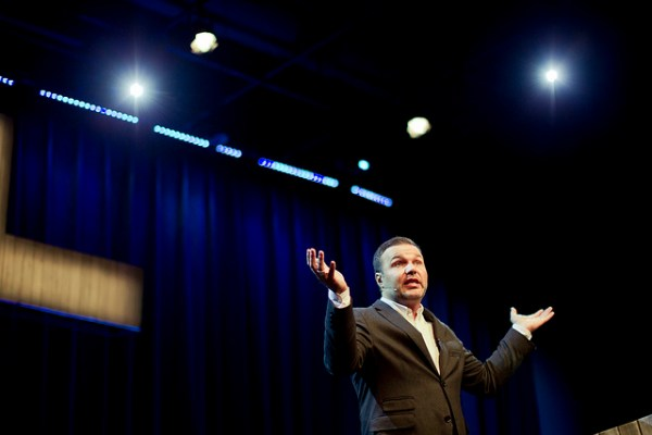Pastor and author Mark Driscoll speaks at the opening of a new location of Mars Hill Church in the Seattle area in 2011. Flickr photo by Mars Hill Church Seattle