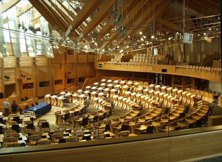 The debating chamber in the Scottish Parliament. Photo by Wikipedia user pschemp